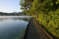 Slovenia, Gorenjska, Bled, Wooden boardwalk at Lake Bled - RUEF001672
