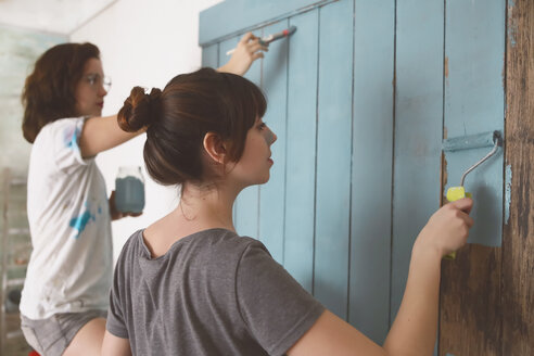 Young friends painting door in blue - RTBF000063