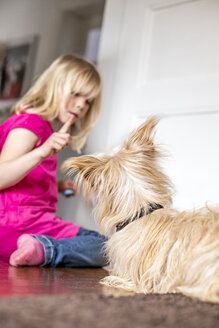 Little girl with her dog at home - JFEF000775