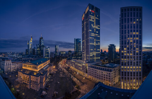 Germany, Hesse, Frankfurt, financial district in the evening - MPA000050