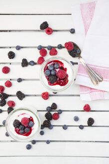 Glasses of Greek yogurt with berries - LVF004683
