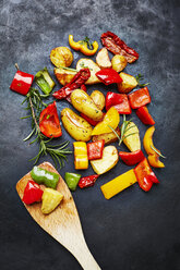 Oven vegetables and potatoes on slate - KSWF001755