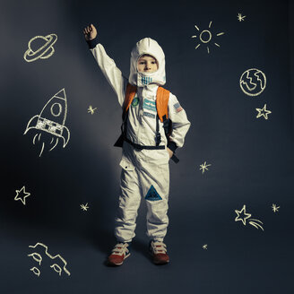 Child with spacesuit orbited by celestial bodies and luminaries - MFF002946