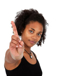Young woman with wagging finger - KLRF000284
