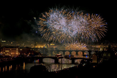 Czechia, Prague, fire works over river Vltava and Charles Bridge - YRF000097