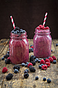 Two glasses of different fruit smoothies - LVF004706