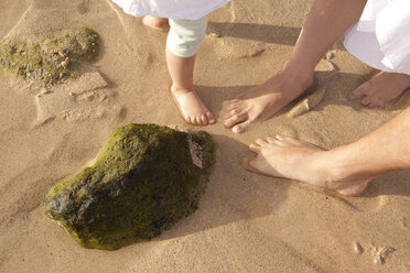 Feet of family standing in sand on beach - MFRF000602