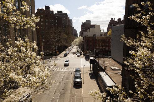 USA, New York, Manhattan, High Line Park, View onto street - FCF000875