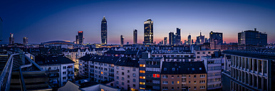 Germany, Frankfurt, Skyline of finanial district in the evening - MPAF000058