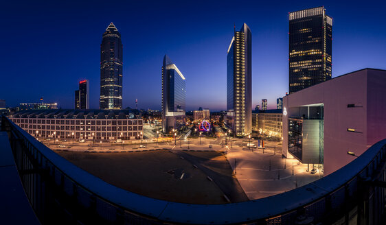 Germany, Frankfurt, View from Skyline Plaza, finanial district in the evening - MPAF000061