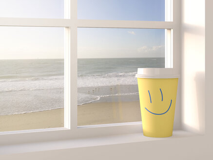 Coffee to go cup on window sill, beach in the background, 3D Rendering - AHUF000152