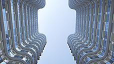 Modern high-rise buildings seen from below, 3D Rendering - UWF000842