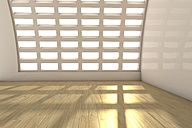 Empty white room with laminate floor, 3D Rendering - CMF000390