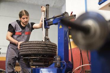 Wheels balancing, Auto mechanic working on a balancing machine - JASF000703