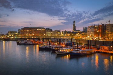 Germany, Hamburg, Harbour with Sankt Michaelis Church in the background, evening mood - RJF000580