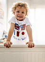 Portrait of happy little boy at home - MGOF001753