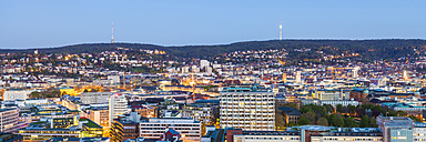 Germany, Stuttgart, cityscape with TV tower in the evening, blue hour - WDF003592