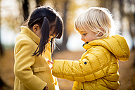 Vetnamese girl and caucasian boy playing outdoor, in fall season - ZOCF000038
