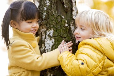 Vietnamese girl and caucasian boy play in outdoor woods in fall season - ZOCF000047