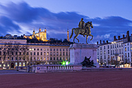 France, Lyon, Place Bellecour with statue of Louis XIV in the evening - JUNF000512