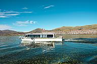 Peru, Titicaca lake, boat sailing from Punto to the Titicaca lake islands - GEMF000871