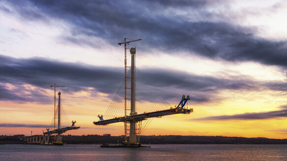 Scotland, Construction of the Queensferry Crossing Bridge at sunset - SMAF000451