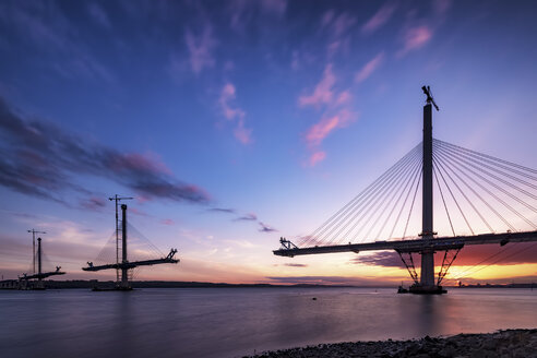 Scotland, Construction of the Queensferry Crossing Bridge at sunset - SMAF000454
