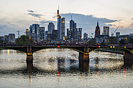 Germany, Hesse, Frankfurt, financial district at sunset, Tower 185, Commerzbank, HelaBa, Deutsche Bank and Ignatz-Bubis-Bridge - WGF000852