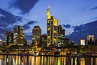Germany, Hesse, Frankfurt, financial district in the evening, Tower 185, Commerzbank, HelaBa, Deutsche Bank and Eiserner Steg - WGF000855