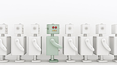 Row of white robots with a coloured one in between, 3D Rendering - UWF000863