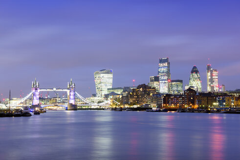 UK, London, skyline with River Thames at blue hour - BRF001318