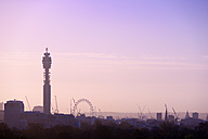 UK, London, skyline with BT Tower and London Eye in morning light - BRF001324