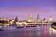UK, London, skyline with River Thames at dawn - BRF001336
