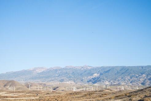 Spain, Tenerifa, wind park and blue sky, copy space - SIPF000400