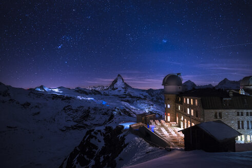 Switzerland, Zermatt, Gornergrat, Kulm Hotel at night - STCF000233