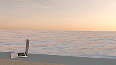 Laptop on the edge of a pool by sunset, 3D Rendering - UWF000869
