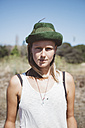Portrait of hippie wearing hat - GIOF000907