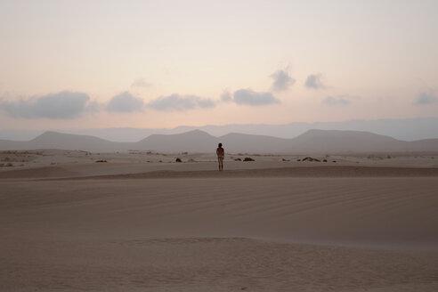 Rear view of nude man standing in Parque Natural de Corralejo - WV000769