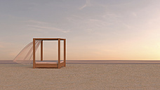 Canopy bed on tranquil beach, 3d rendering - UWF000871