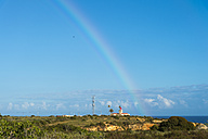 Portugal, Algarve, Lagos, Ponta da Piedade, lighthouse and rainbow - FRF000410