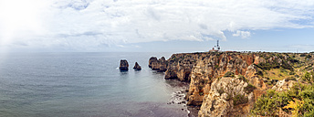 Portugal, Algarve, Lagos, Ponta da Piedade, cliff coast, panoramic view - FRF000413