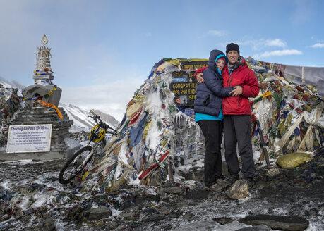 Nepal, Annapurna, Thorong La Pass, couple - ALRF000422