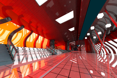 Futuristic hall, 3D Rendering - SPCF000075