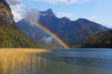 Austria, Styria, Eisenerz, Hochschwab, Pfaffenstein mountain, Leopoldsteiner lake, rainbow - GFF000580