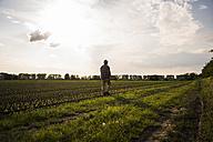 Farmer walking with rake along a field - UUF007369