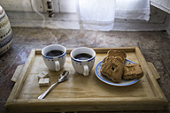 Wooden tray with two cups of coffee and biscuits - RIBF000396