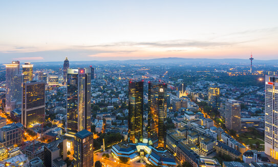Germany, Frankfurt, city view from above by sunset - TAMF000483