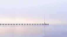 Lake Starnberg, wooden pier at dawn - PUF000510