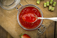 Glass of rhubarb strawberry mush - LVF004894