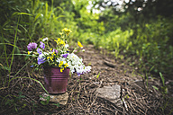 Small bucket with wildflowers on the ground - DEGF000820